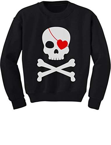 Tstars - Pirate Skull & Heart Valentine's Day Toddler/Kids Sweatshirt 5/6 Black