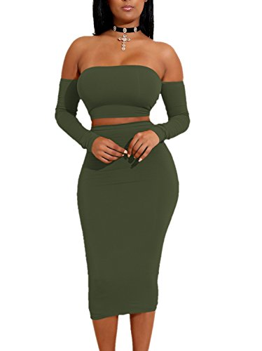 Doramode 2017 Off Shoulder Back Bandage Crop Top 2 Pieces Midi Tight Soft Long Sleeves Solid Autumn Elastic Night Club Pencil Skirt For Women Army Green Small