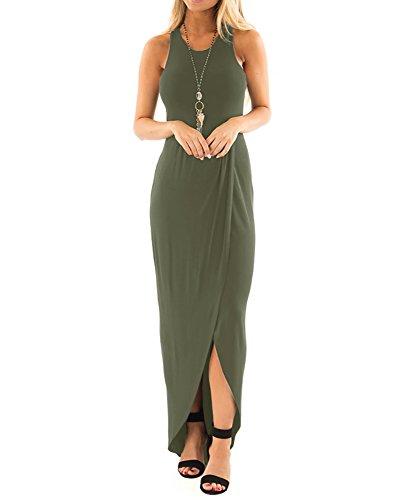 Chuanqi Womens Causal Sleeveless Maxi Dresses High Low Sundress Plain Empire Waist Tank Dress ()