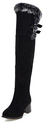 Easemax Women's Warm Fluffy Fur Mid Block Heel Round Toe Side Zipper Over Knee High Boots Black WRovyuNuA