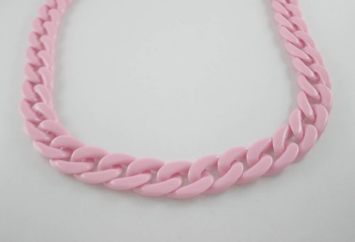 30 inch. Light Pink Chunky Chain Plastic Link Necklace Craft DIY Decorations Findings (Flat) (Big Size) ()