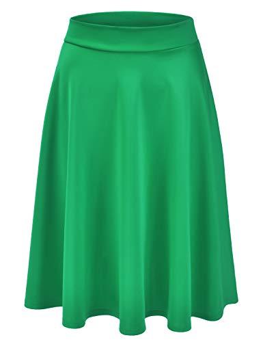 EIMIN Women's Basic Versatile Stretchy Flared Casual Midi Skater Skirt KellyGreen L ()