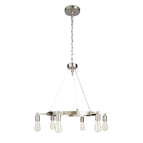 Brushed Nickel Chandelier Centerpiece with Bulbs for Dining Rooms | 29″ Light Fixture Provides Multidirectional Lighting | Rustic Pendant Lamp with Industrial Accents Creates Modern Farmhouse Feel Review