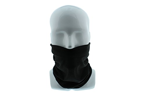 Black Seamless Wide Tube Bandana Balaclava Face Mask for Men & Women – Paintball, Ski, Dust, Costume, Motorcycle Helmet (Quick Mens Halloween Costumes)