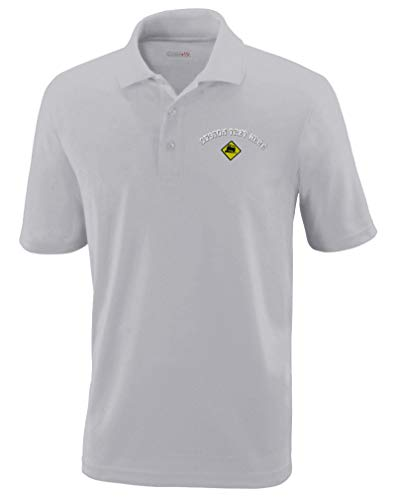 - Custom Text Embroidered Loose Gravel Sign #2 Mens Adult Button-End Spread Short Sleeve Polyester Proformance Polo Shirt Golf Shirt - Platinum, X Small