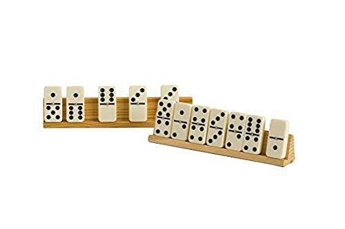 Natural Wood Finish Wooden Tilted Domino Tile Holder (Set of (Domino Sets For Sale)
