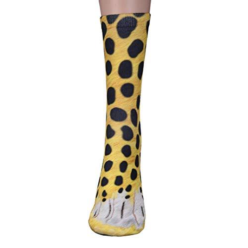 Unisex Funky Socks Hosamtel Animal Paw 3D Printing Sublimated All Over Crew Socks for Man Women Girl Boy (Cheetah)