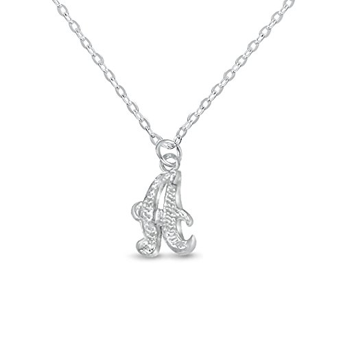 Initial Diamond Cut Letter (Silver Sterling Initial Necklace Personal Charm 3D Pendant DiamondCut One Letter)