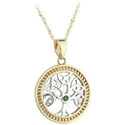 Solvar 14K Two Tone Emerald Tree Of Life Pendant