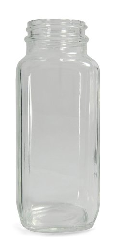 Qorpak GLA-00832 Clear Glass Wide Mouth French Square Bottle with 43-400 Neck Finish, 51mm Diameter x 137mm Height, 8oz Capacity (Case of 24)