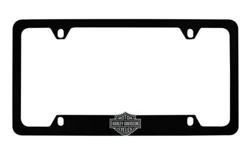 Harley-Davidson Flat Matte Black License Plate Frame Holder With 3D Bar & Shield