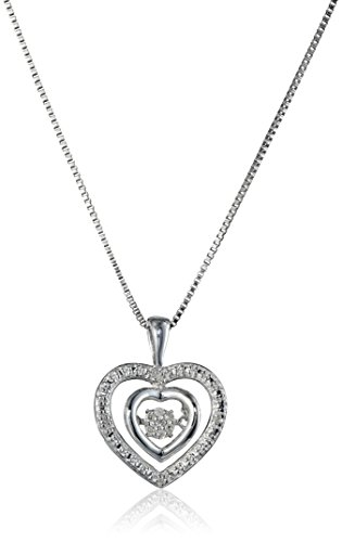 "Sterling Silver and ""Dancing"" Diamond Double-Heart Pendant Necklace, 18"""