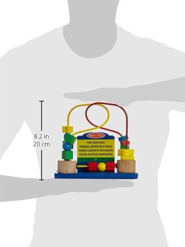 Melissa /& Doug First Bead Maze Quality Craftsmanship /& Sturdy Construction Developmental Toys 19.685 cm H x 9.525 cm W x 17.78 cm L Wooden Educational Toy
