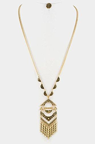 Trendy Fashion Jewelry Aztec Texture Pendant Tribal Necklace Set By Fashion Destination   (Antique Gold)