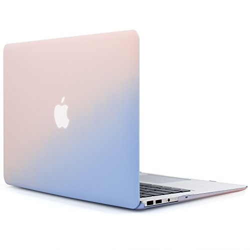 iDOO Soft Touch Hard Plastic Matte Case for MacBook Air 13 inch Model A1369 and A1466 - Rose Quartz & Serenity (Soft Pastel 1)