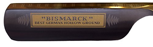 Shave Ready Dovo Bismarck Straight Razor, 6/8'', Carbon Steel, Ebony Wood Handle with Gold Inlay