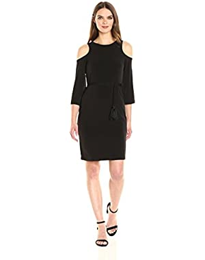 Calvin Klein Women's Long Sleeve Jersey Dress with Cold Shoulder