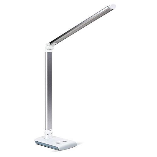 DECKEY 10W LED Lampara de Escritorio Lampara de Mesa Lampara de Mesa Regulable Lampara de Oficina Giratoria Lampara de Lectura Lampara de Libro Lampara de Trabajo 60 LED ([Plata)