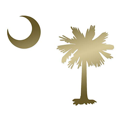 Applicable Pun Palmetto Tree and Moon SC Flag South Carolina - Vinyl Decal for Outdoor Use on Cars, ATV, Boats, Windows and More - Gold 10 inch