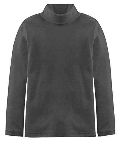 Popular Big Boy's Solid Cotton Turtleneck - Charcoal - 12/14 (Kids Turtles Neck)