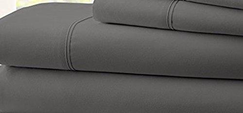 Hotel Comfort Count Deep Pocket 4 Piece Bed Sheet Set Gray Twin
