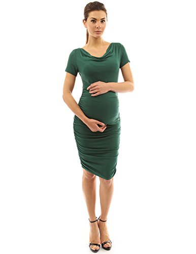 PattyBoutik Mama Cowl Neck Short Sleeve Maternity Dress (Dark Green Small)
