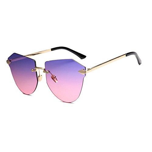 De Casual Recorte Gafas Gafas Sin Océano Gafas Sol Marco Gafas Ciclismo Colorido Teñido Grandes Moda Multi De De GUOHONG colored Brown del Sol De Irregular CX De YwnTqv6