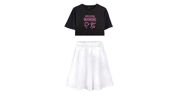 Flyself KPOP Blackpink Camiseta y Falda Set Blackpink Estampado Crop Tops + Skirt 2pcs Conjunto Traje Expuestos Falda T-Shirt Verano para Mujeres y Muchachas: Amazon.es: Ropa y accesorios