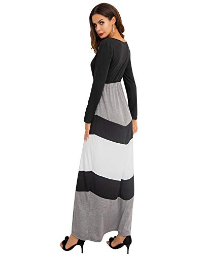 1a8f2bc3c7d GIKING Women s Casual 3 4 Sleeve Striped Floral Pleated Long Maxi Dress  with Pockets