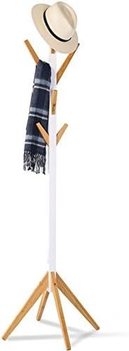 LIANGLIANG ハンガラック 8フック四足サポートハンガー竹白長さ41.5センチメートルの*高さ178センチメートル