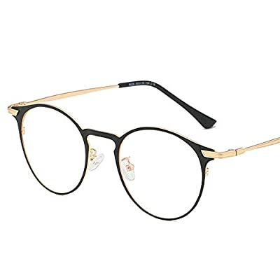FeliciaJuan Adult Glasses Contracted Round Box Metal Frame Glasses General Computer Goggles Men and Women