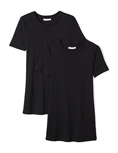 Amazon Brand - Daily Ritual Women's Midweight 100% Supima Cotton Rib Knit Short-Sleeve Crew Neck T-Shirt, 2-Pack, Black/Black, X-Large