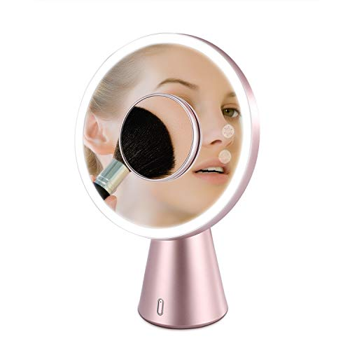 Lighted Makeup Mirror With Bluetooth Speaker & Desk Lamp - Makeup Vanity Mirror with 5X Magnification - Red dot Design Awards 2018 (Rose Gold)