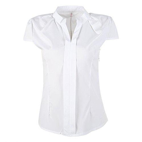 04f864ee4f33a EFINNY Women Office T-Shirt Uniform OL V Neck Henley Blouse Workwear Tops