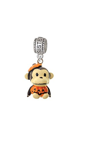 [Resin Monkey in Pumpkin Costume - Sister Charm Bead] (Sorority Sisters Costume)