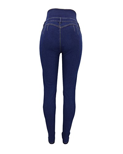 Leggings Jeggings Guiran Boyfriend Jeans con Skinny A Donna Alta Push Up Stretch Blu Pantaloni Vita Yan Cintura pqPxH7pw