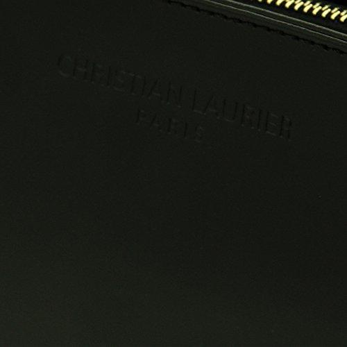 Christian Laurier - Sac à main en cuir modèle Carmen noir - Sac à main minaudière haut de gamme fabriqué en Italie en cuir véritable