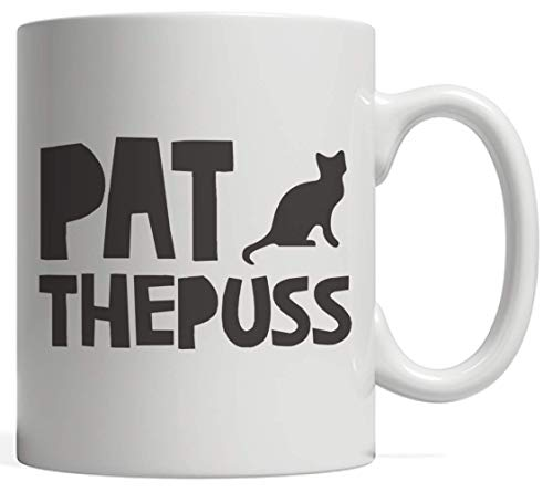Pat the Puss Black Cat Winking Kitty Pets Cat Mug - Funny Cats Lover Gift Idea For Kitten Lovers Who Love Kittens And Kitties Owner Who Owns This Cute Animal!