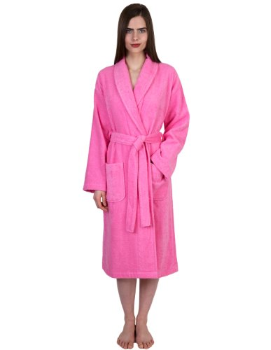 TowelSelections Turkish Cotton Robe Terry Shawl Bathrobe for Women and Men Medium/Large Sachet Pink