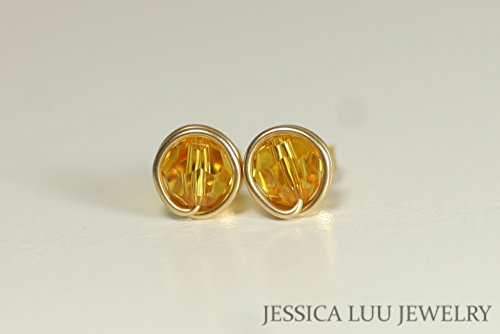 (Gold Yellow Swarovski Crystal Stud Earrings Sunflower Swarovski Crystal Studs Wire Wrapped Yellow or Rose Gold)