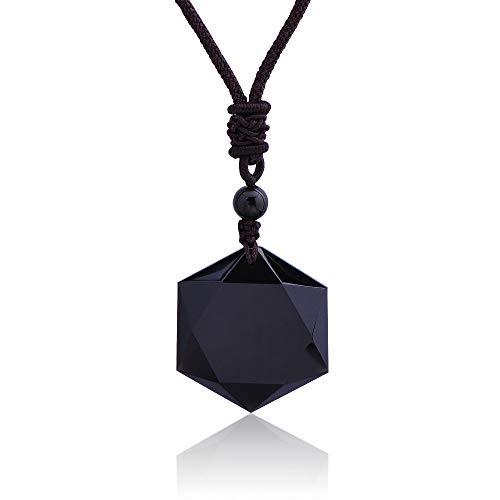 Crystal Classic Pendant Necklace   Black Obsidian/Star   Rope Chain   Necklace   Lucky Jewelry Gift