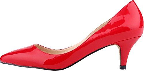Salabobo Womens Smart Wedding Bride Bridesmaid OL Night Party Pointed Toe Low Heel PU Pumps Red RlWDk