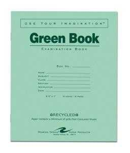 Bulk Recycled Green Exam Books, Wide Margin 8.5''x7'': Roaring Spring 77508 (600 Exam Books)