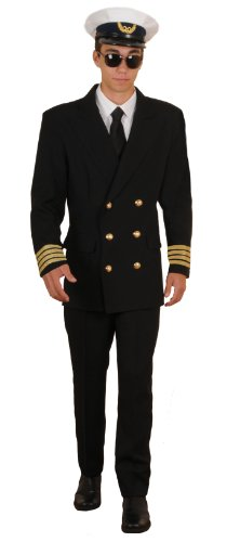 Pan Am Costume (Deluxe Retro Airline Pilot Theatrical Quality Costume, Large)