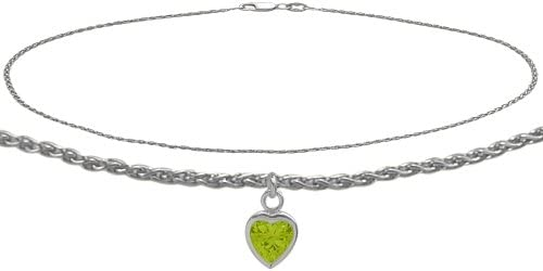 14K White Gold Wheat Anklet with Genuine Peridot Heart Charm