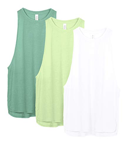 icyzone Yoga Tops Activewear Workout Clothes Sports Racerback Tank Tops for Women (S, White/Green/Pistachio Green)