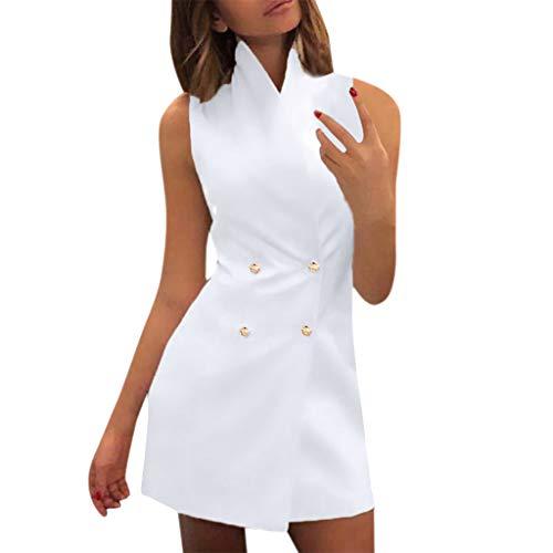 Oufenli Women Sleeveless Dresses Ladies Summer Pencil Mini Dresses Double-Breasted Slim Bodycon Business Work Dress White
