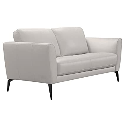 Fine Amazon Com Natural Greige Leather Loveseat In Dove Gray Alphanode Cool Chair Designs And Ideas Alphanodeonline