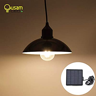 Outdoor Solar Chandelier Light Bulb Classical 9.8ft Wire with Solar Panel New Design Glass Lantern Lampshade for Garden Yard