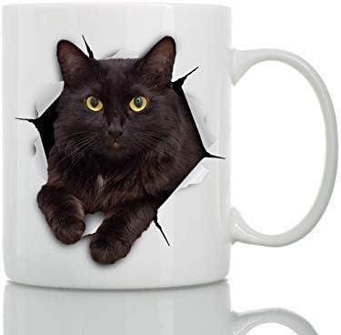 Taza de Gato Negro - Taza Gato Negro de Cerámica para Cafe - Regalo Perfecto sobre Gato Negro - Divertida y Bonita Taza de Café para Amantes de los Gatos: Amazon.es: Hogar